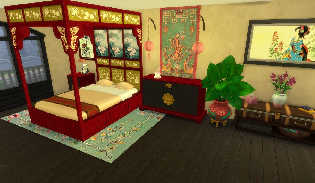 Asian Beds a Sims 3 to Sims 4 Conversion DOWNLOAD at