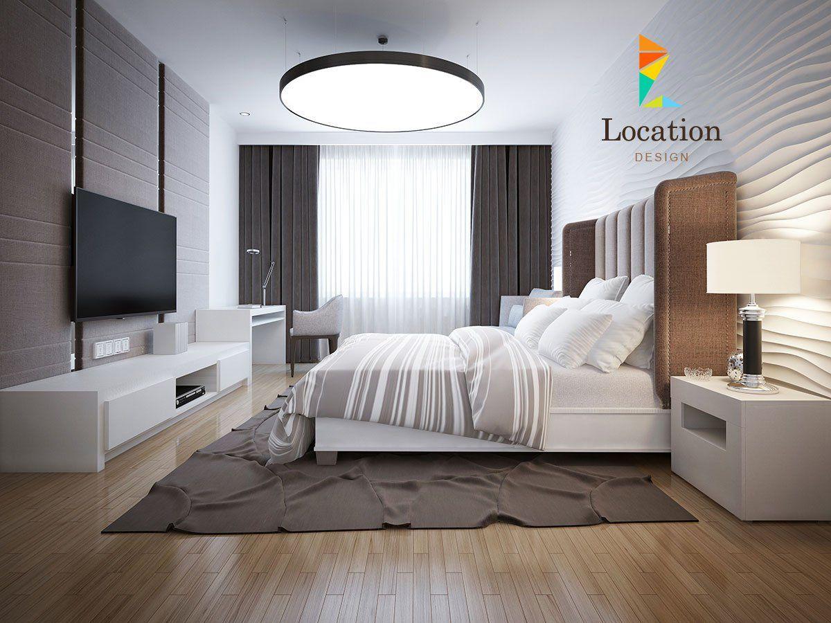 غرف نوم تصميم مضيء لغرفة نوم حديثة وعصرية تضم أثاث باللون الأبيض وأرضيات باركية وحوائط ج Contemporary Bedroom Modern Bedroom Design White Bedroom Furniture