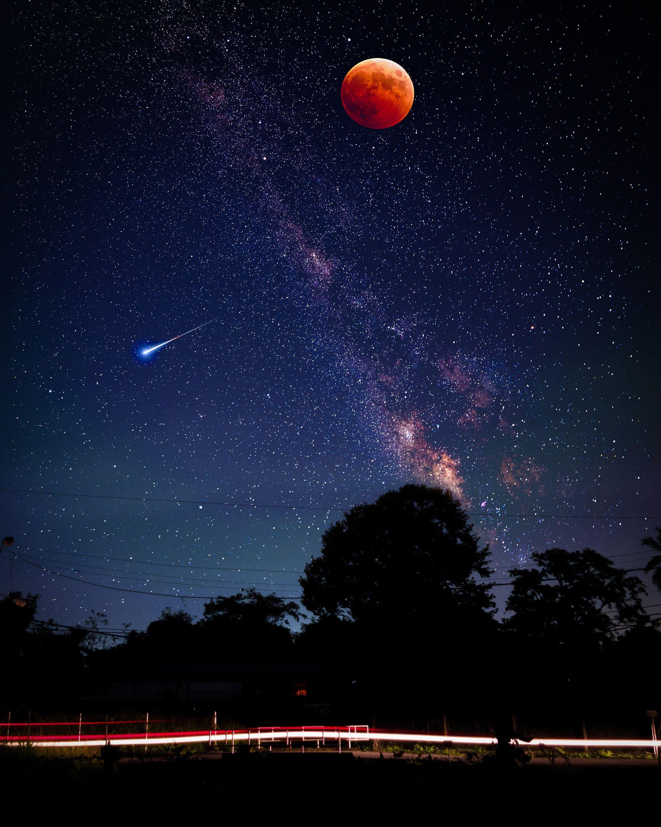 луна звезды небо фото