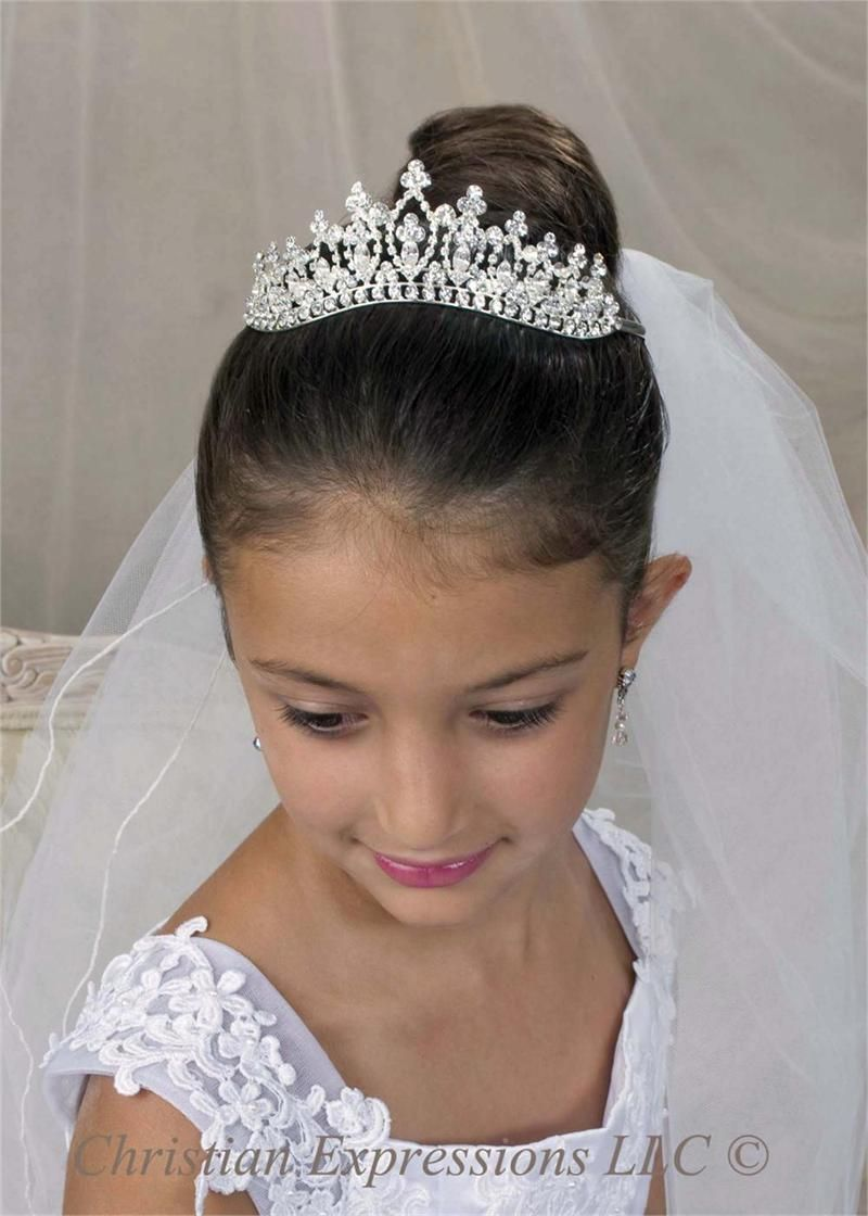 Holy Communion Tiara   Silver with Crystal Decoration