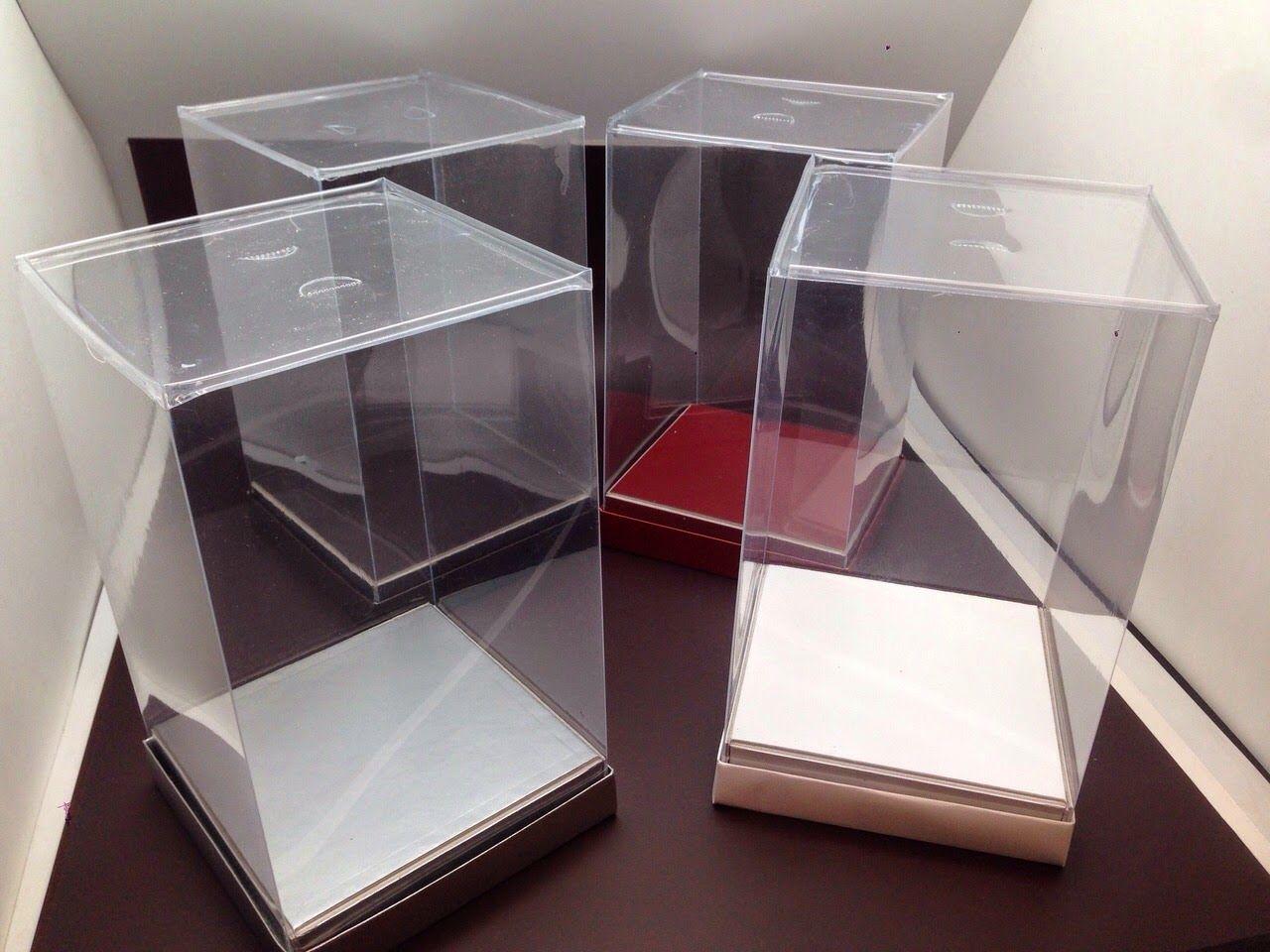 12 Cajas De Plastico Envases Pvc Acetato Bomboneras Cajas