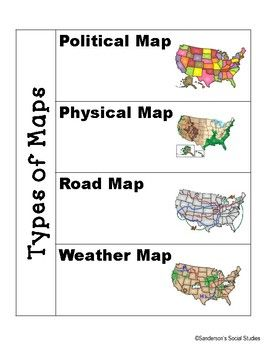 Types Of Maps And Map Skills Interactive Geography Notebook Map Skills Social Studies Maps Interactive Notebooks Social Studies