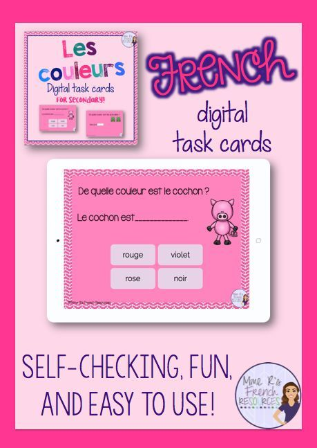 French colors task cards - Boom cards - les couleurs Interactive