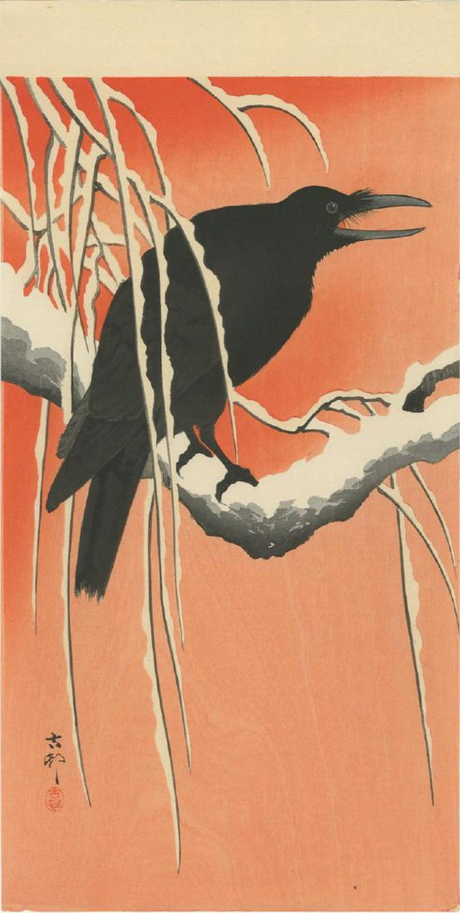 Ohara Koson Crow On Snowy Branch Woodblock Pre Eq Feb 18 2018 Ukiyoe Gallery Japanese Woodblock Prints In Ny Japan Print Japanese Art Japanese Woodblock Printing