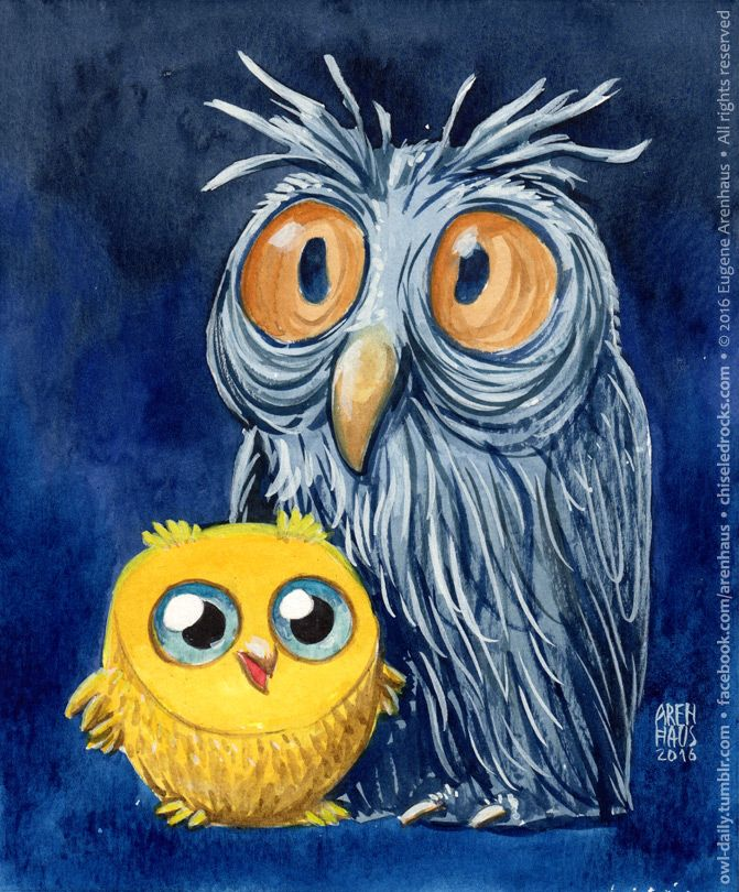 Owl Daily by Eugene Arenhaus — №465: Young owl and old owl.