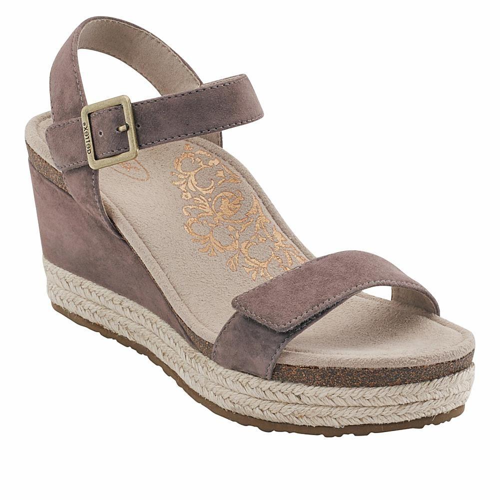 ed556438d51 Aetrex® Sydney Orthotic Suede Espadrille Wedge Sandal - Black in ...