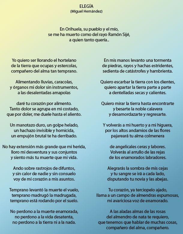 Miguel Hernández Elegía Poemas Poeta Español