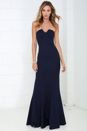 c0c82a7f0841 Ladylove Navy Blue Strapless Maxi Dress | DRESSES | Pinterest ...