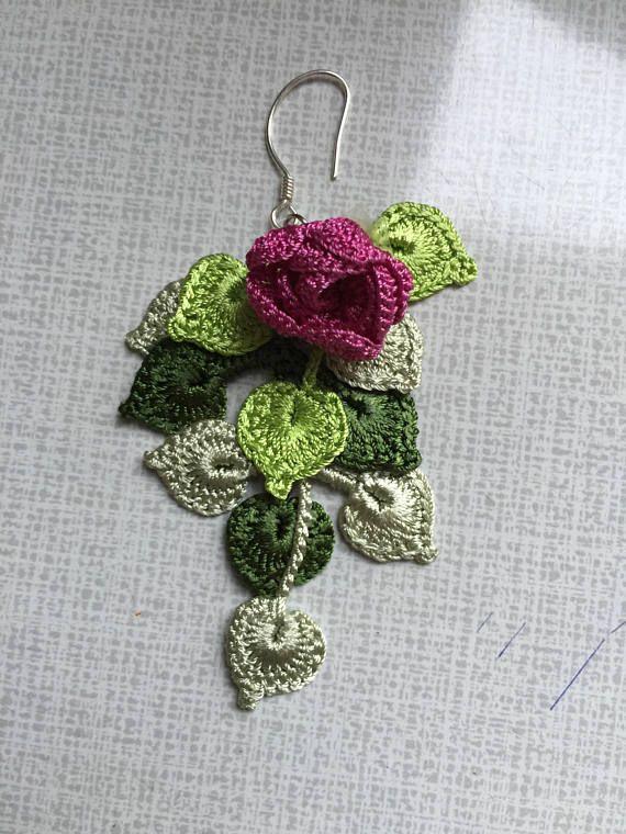67fdf2c47e8e Rosa pendientes-colgantes hojas pendientes turquesa esterlina ...