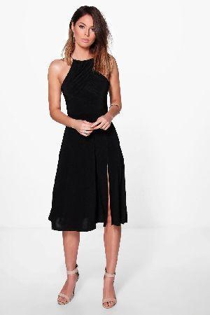 a82f88b64071 #boohoo Gather Pleat Top Midi Skater Dress - black #Hazel Gather Pleat Top  Midi