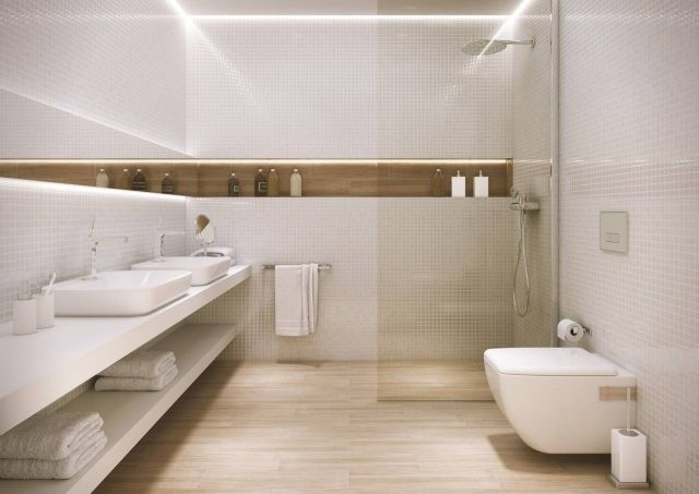 Fesselnd Badideen Fliesen Holzoptik Boden Dusche Glaswand Wandnische Led Leiste  Weiße Wand Mosaik