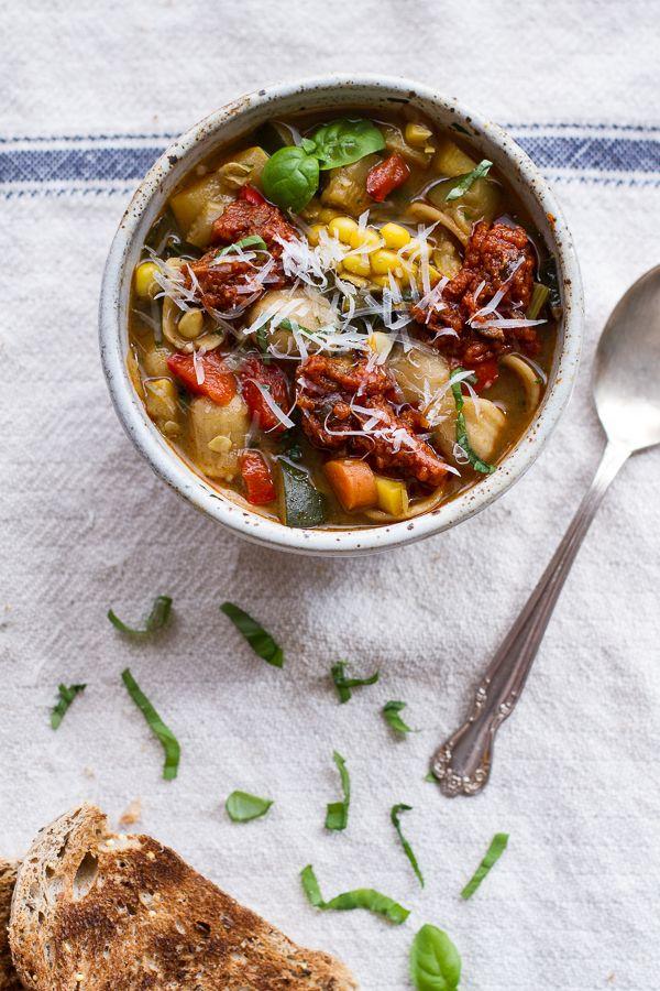 Tuscan Summer Minestrone with Sun-Dried Tomato Pesto | halfbakedharvest.com