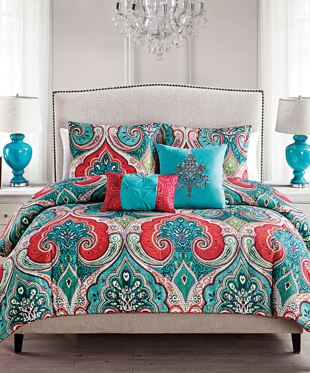Look at this teal red casablanca comforter set on zulily today