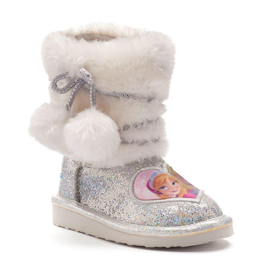 Disney Toddler Girls Frozen Anna Elsa silver pull on Plush Boots 11 NEW