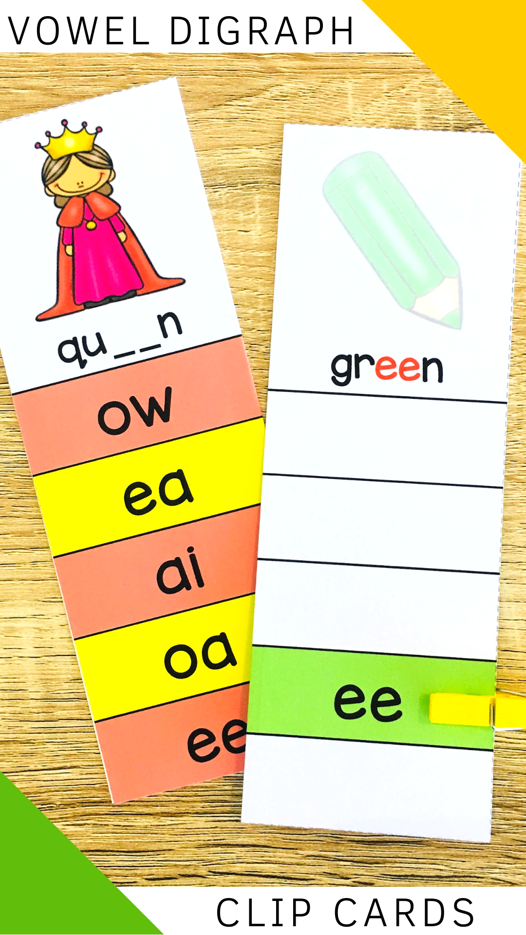 Long Vowel Digraphs Clip Cards In
