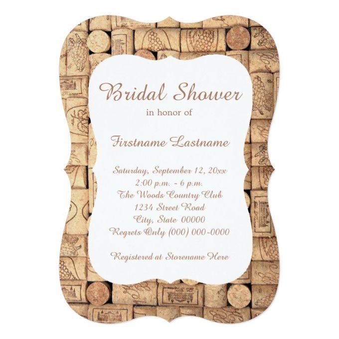 Wine Corks Bridal Shower Invitations