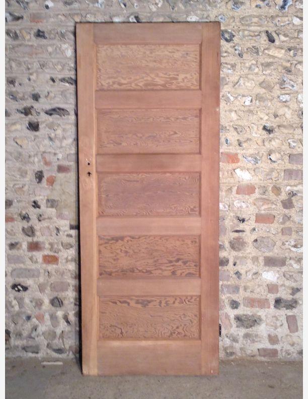 522 - 1950s 5 Panel Internal Door with Tiger Ply Panels & 522 - 1950s 5 Panel Internal Door with Tiger Ply Panels | Historic ...