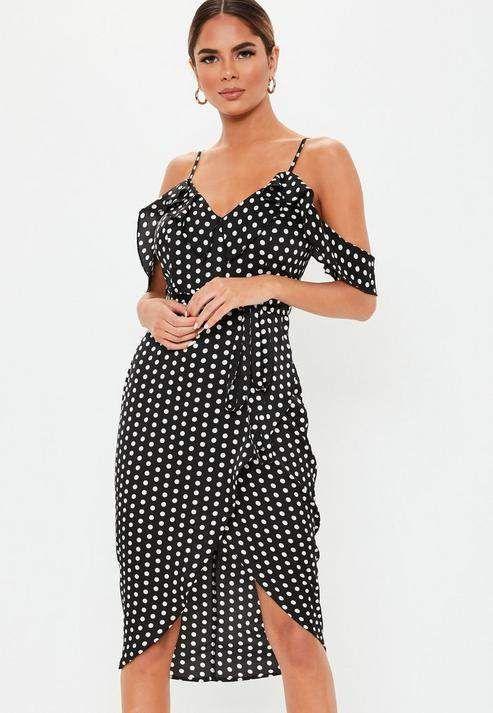 3ac255a10b Petite Black Polka Dot Frill Wrap Satin Midi Dress in 2019 ...