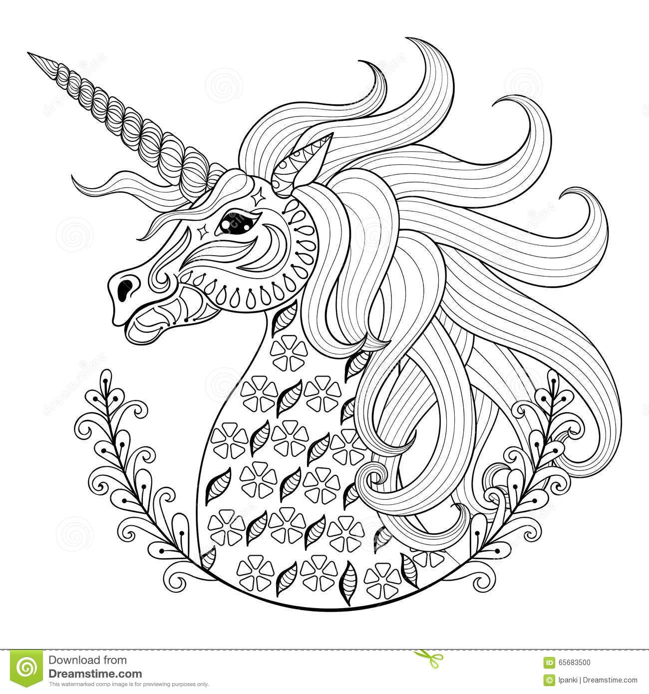 Stress Coloring Pages Animals : Hand drawing unicorn adult anti stress coloring pages