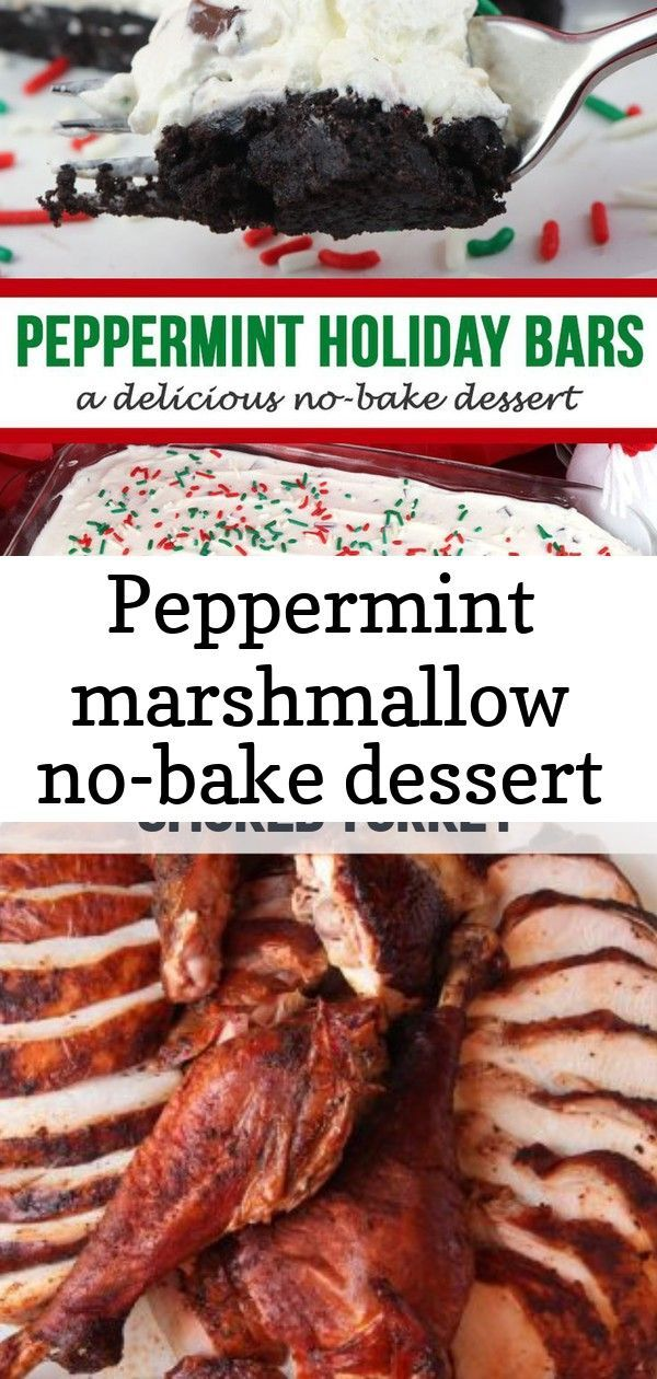 Peppermint marshmallow no-bake dessert #flavoredmarshmallows Peppermint Holiday Bars - a delicious no-bake dessert! A yummy Peppermint-flavored marshmallow filling chock full of chocolate chunks layerd on a scrumptious Oreo Cookie crust and covered in Christmas sprinkles.  Christmas No-Bake desserts have never been so festive or so easy to make. #Christmas #NoBakeDessert #NoBake #Easy Spice-Rubbed Butterflied Smoked Turkey | Looking for more than just a hint of smoke? This is a true barbecue-sty #flavoredmarshmallows