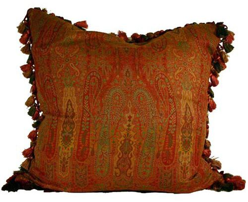 Red Paisley Throw Pillows | Wool Paisley Pillow In Red U0026 Blue Green