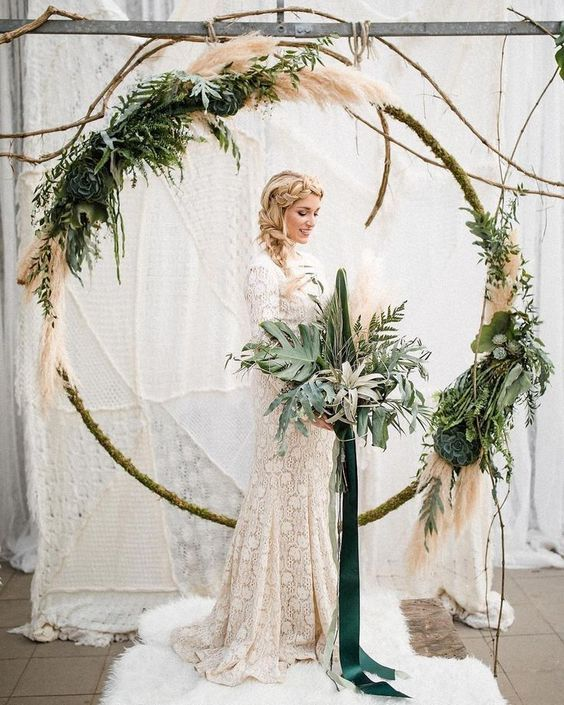 Pampas Grass And Greenery Circular Ceremony Backdrop Hoop