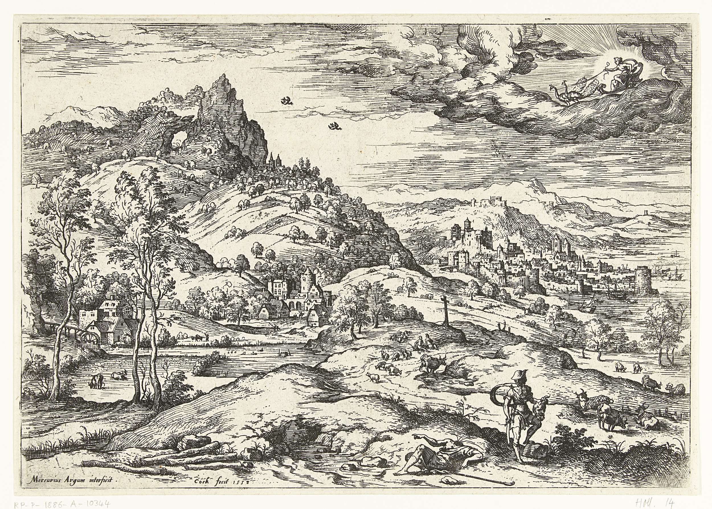 Hieronymus Cock | Mercurius met het hoofd van Argus, Hieronymus Cock, Matthys Cock, c. 1551 - before 1558 | Heuvelachtig landschap met een havenstadje in de verte. Rechts voor Mercurius die de reus Argus het hoofd afgehakt heeft. Mercurius houdt het hoofd in zijn hand. In de wolken rijdt Juno in haar koets die getrokken wordt door twee pauwen. Prent uit een serie van 13 landschappen met bijbelse en mythologische scènes.