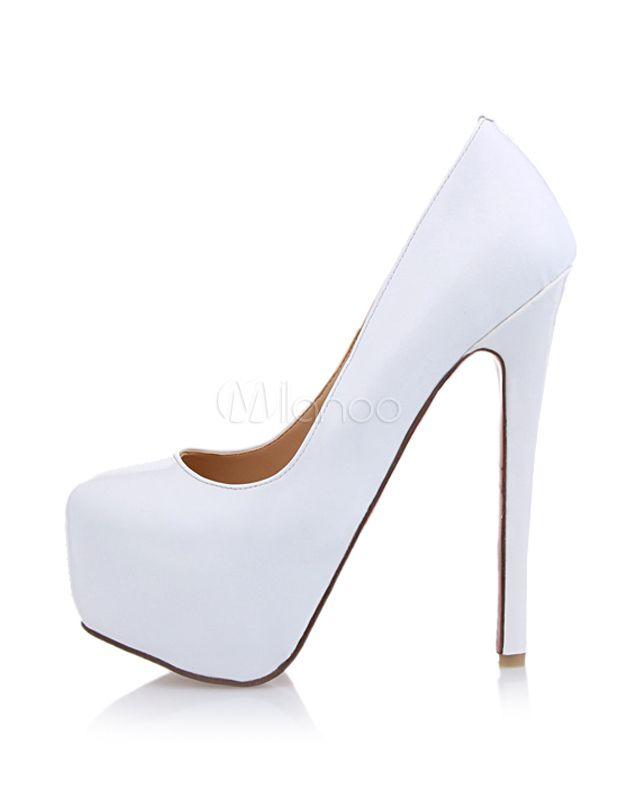 cheaper 45d0e 95216 Zapatos de plataforma de PU blanco de tacón stiletto - Milanoo.com