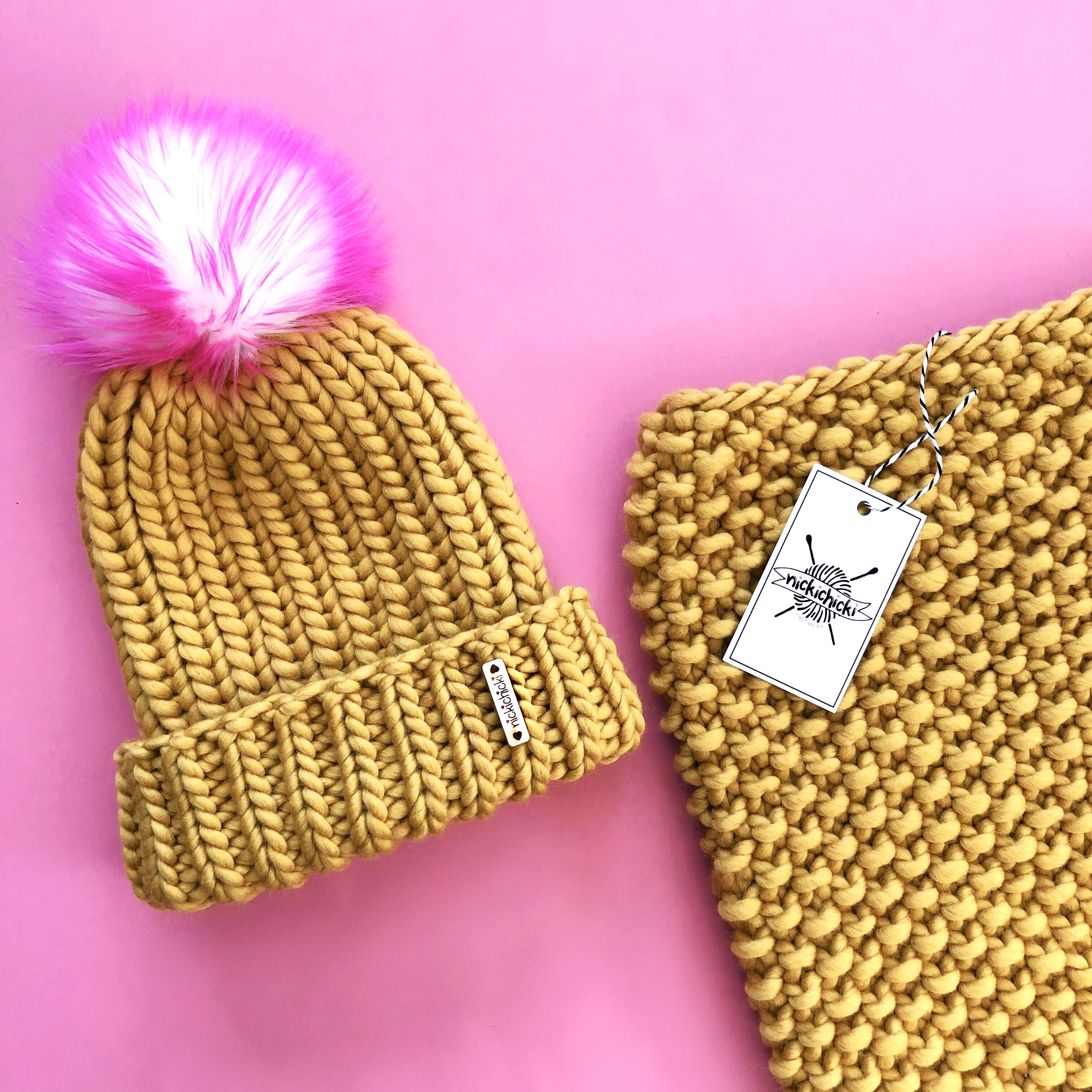 a8748cc4d1a Folded brim knit merino beanie from Nickichicki. Neon pink and gold ...
