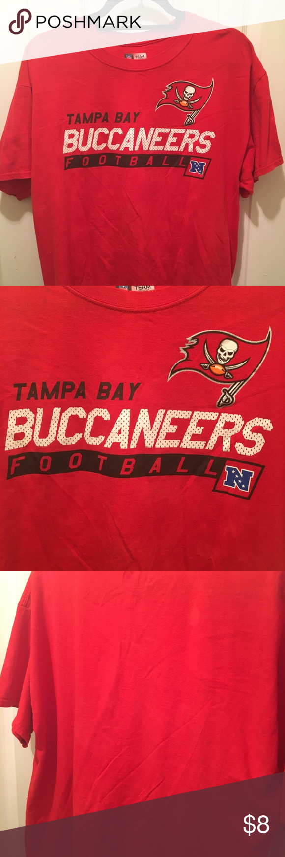 Men S Large Tampa Bay Buccaneers Shirt Gently Pre Owned Condition Nfl Team Apparel Men S Size Large Solid Red Color Tampa Bay Buc Team Apparel Nfl Team Apparel