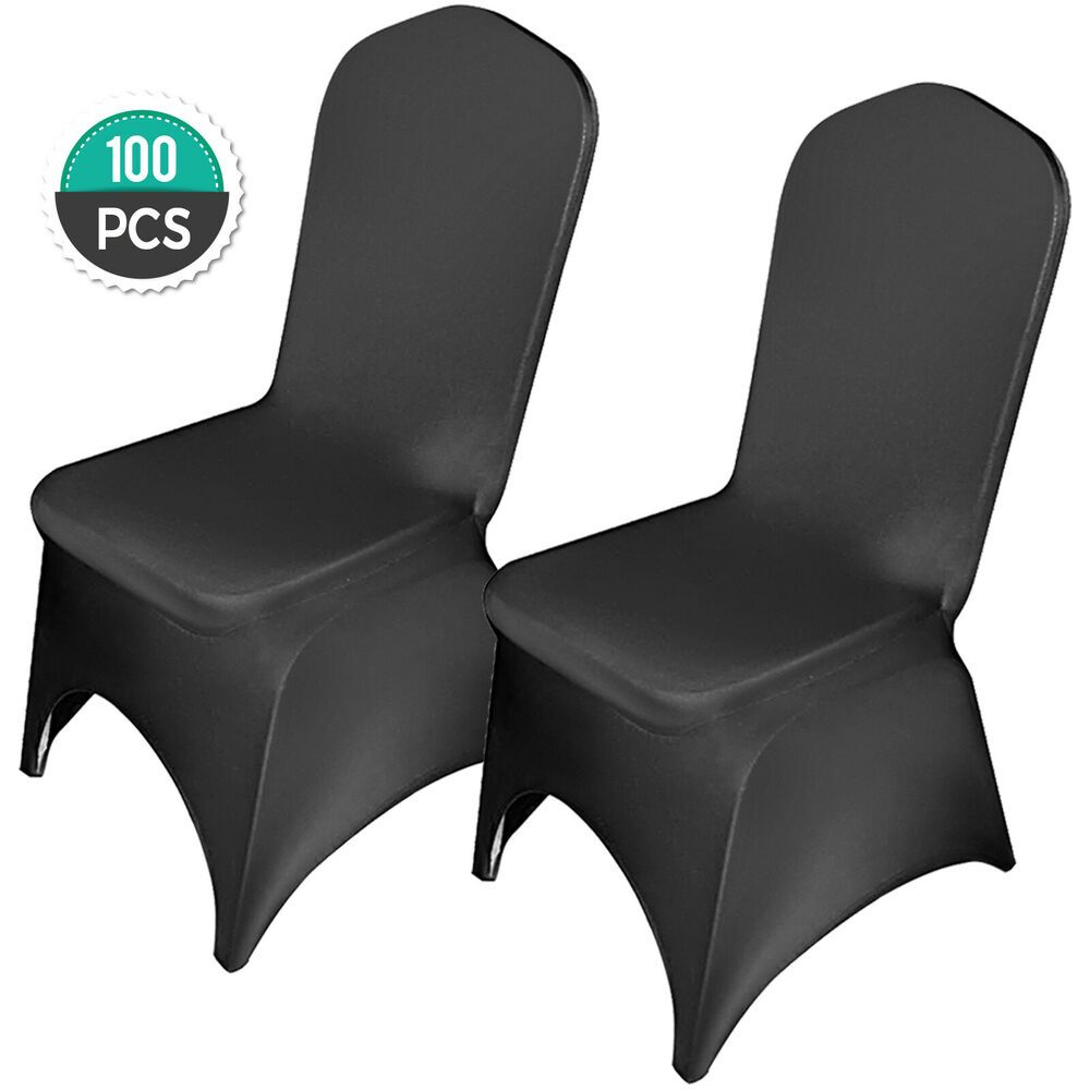 Ebay Sponsored 100pcs Black Polyester Spandex Party Chair Covers
