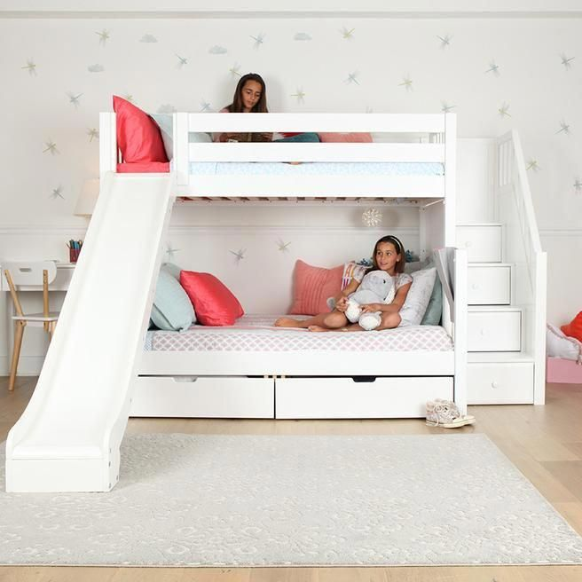 Twin Over Double Bunk Bed With Slide Novocom Top
