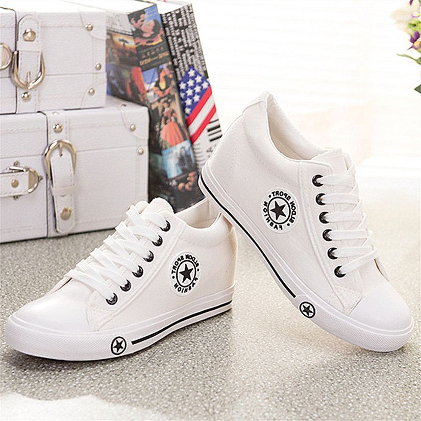 99d52ddf1fc24 Tennis Sneakers · 2017 Summer Wedges Women Casual Shoes Shoes Women Canvas  Shoes Female Cute White Basket Stars Zapatos