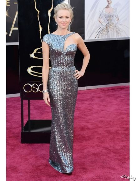 2013 Academy Awards Red Carpet: Naomi Watts silver cut out gown