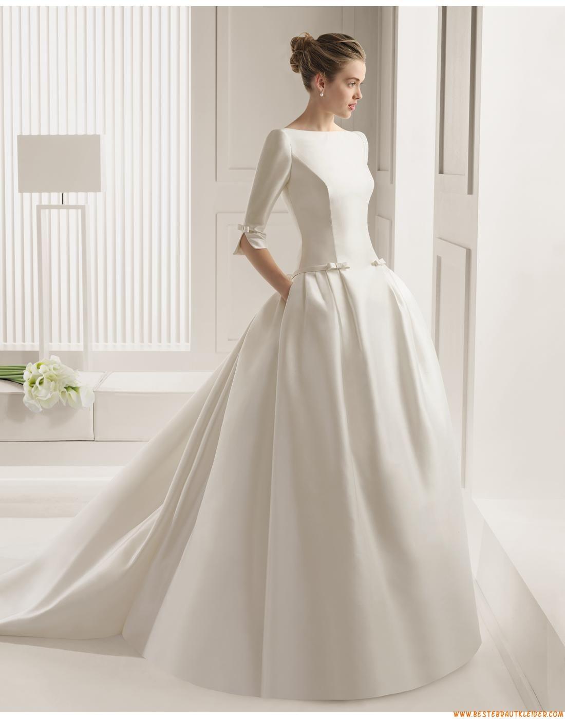 14 A-linie Schlichte Exklusive Brautkleider aus Satin mit