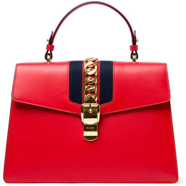 Gucci Sylvie Top Handle Tote - Red found on Polyvore featuring bags, handbags, tote bags, purses, kirna zabete, top handles, gucci purses, handbags totes, red tote handbags and top handle tote