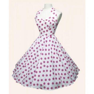 White 50\'s Halterneck Pink Polka Dot Vintage Rockabilly Swing Party ...