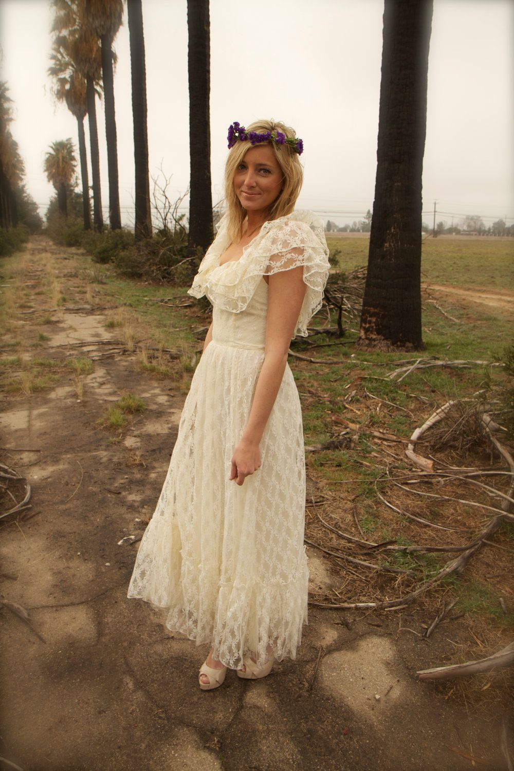 Vintage wedding gown lace ivory ruffled s bohemian hippie dress jude