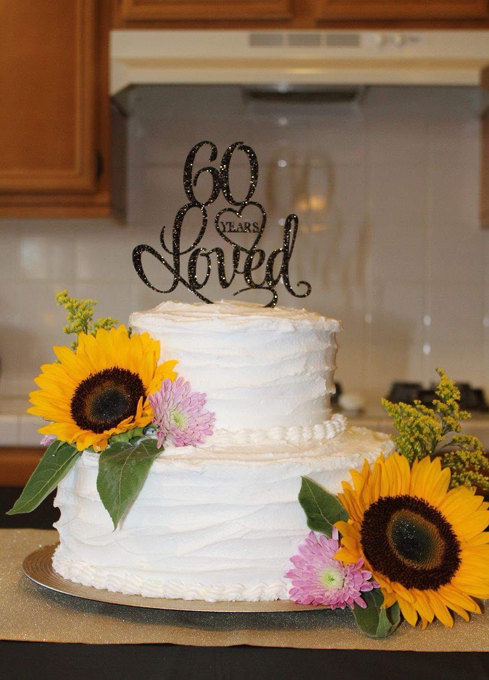 60th Birthday Cake Rustic Cake With Sunflowers Mom Loved It