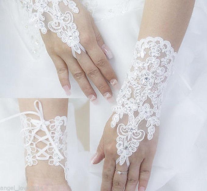 12.49$  Watch now - http://vivma.justgood.pw/vig/item.php?t=jizdkpp15847 - Beautiful White Fingerless Lace Wrist Length Bridal Wedding Embellished Gloves 12.49$