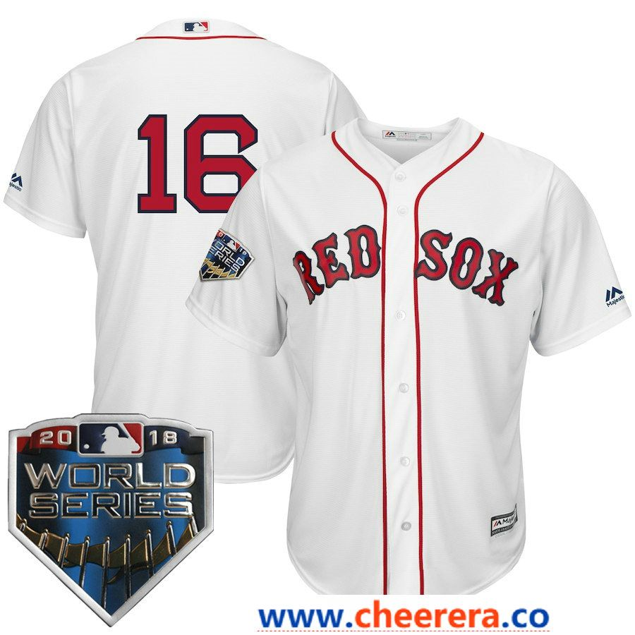 50ad7ed78e2  16 Andrew Benintendi Men s Boston Red Sox Majestic White 2018 World Series Cool  Base Player Number Jersey