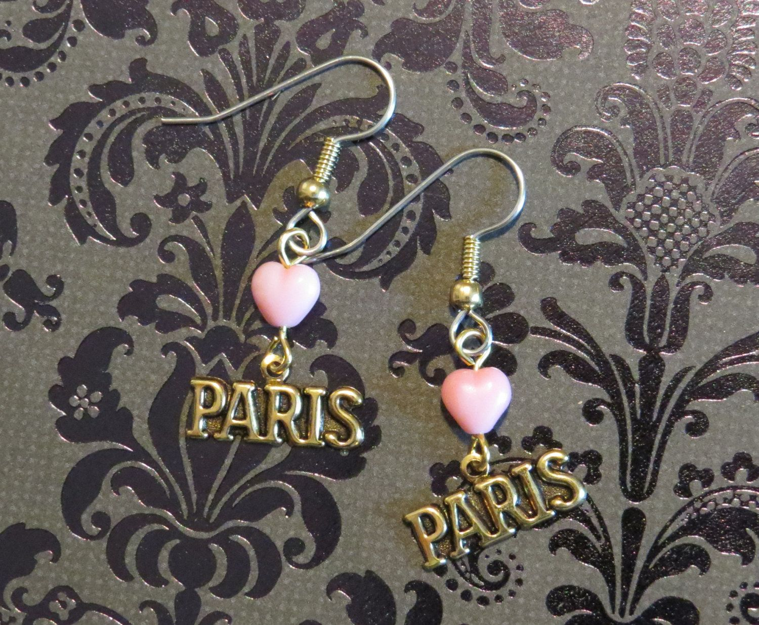 I love Paris earrings 24 Karat Gold Plate and a Creamy Pink Glass Heart Paris France Vacation City of Love EG501 by NostalgicCharm on Etsy