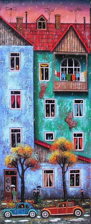 Brushstrokes in the world: Houses and neighbors illustrations by David Martiashvili / y Casas neighbors: illustrations by David Martiashvili / Houses neighbors and illustrations of David Martiashvili