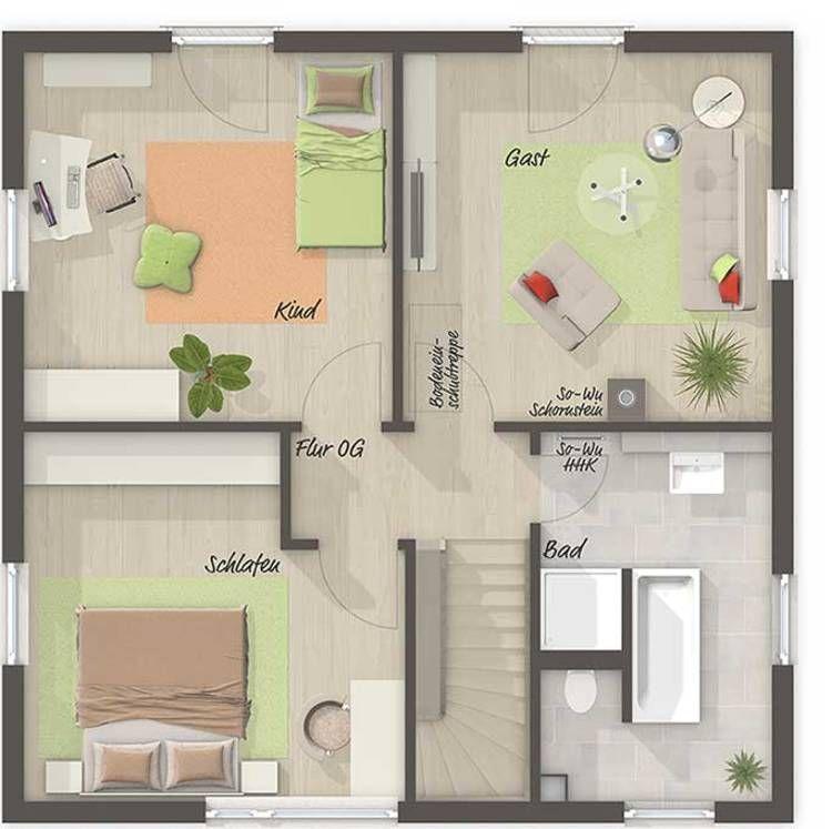 Das Stadthaus Flair 124 - Grundriss Obergeschoss - Ihr Town