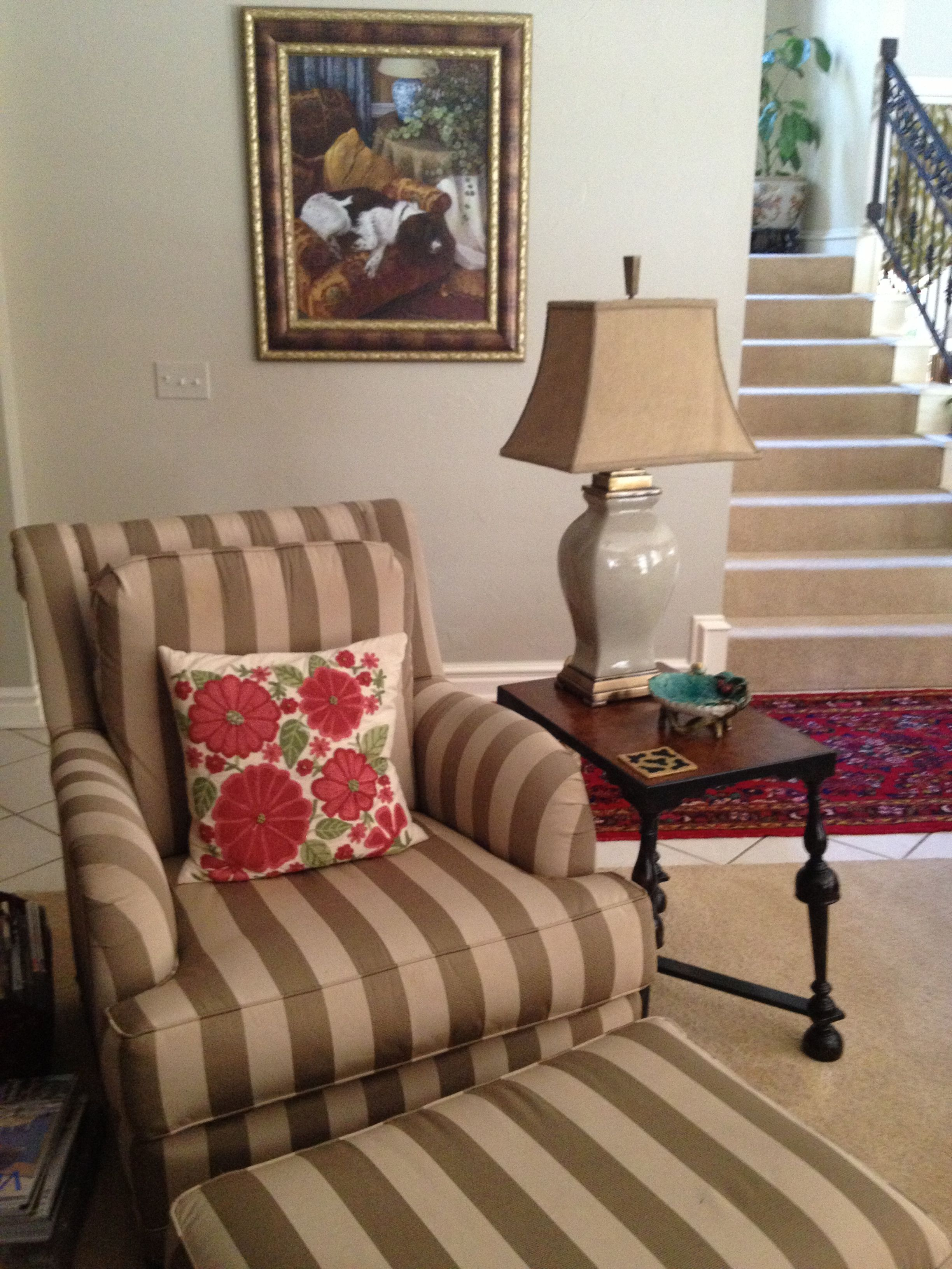 Striped Accent Chair With Floral Pillow Rooms Home Decor Home Decor Stripe Accent Chair