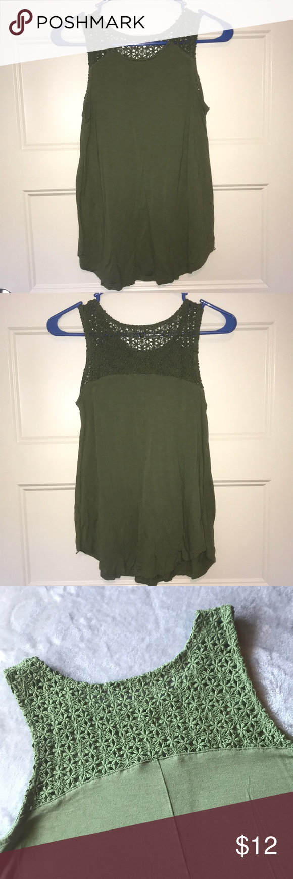 Old Navy Tank Top Forest green tank top has flower crochet pattern along straps and shoulder. Bell-shaped hemline. Never worn - no original tags. Old Navy Tops Tank Tops #crochettanktops
