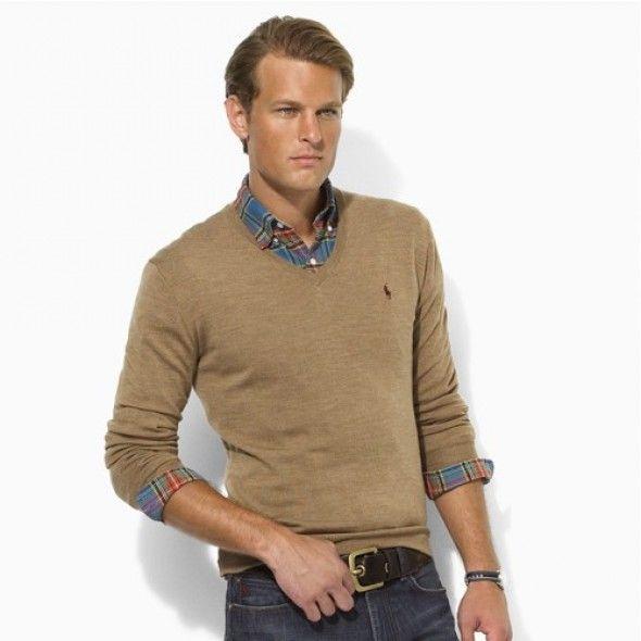 Ralph Lauren Men\\\u0027s Chestnut V-Neck Mesh Sweater Polo