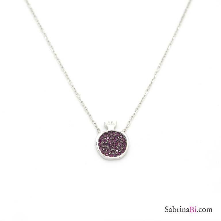 Collana girocollo argento 925 Melograno brillanti rossi