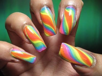 My Simple Little Pleasures: NOTD: Double Rainbow Water Marble + Tutorial & My First Collaboration!