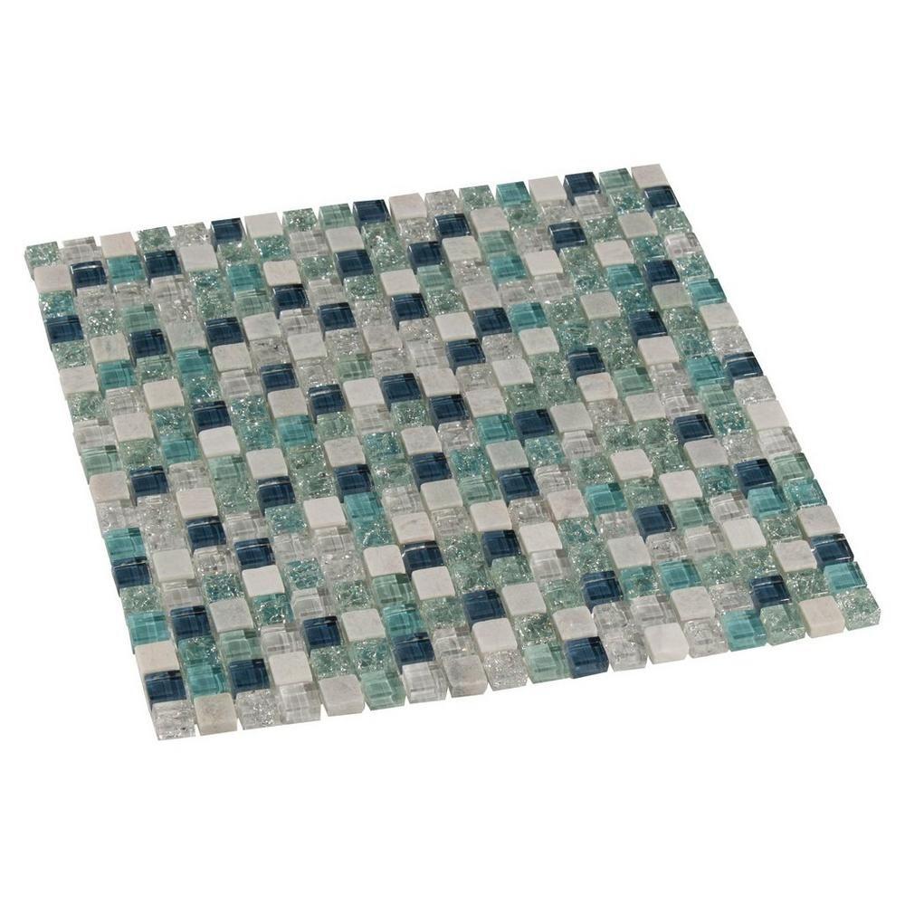 blue ocean mix ii glass mosaic - 12in. x 12in. - 100155373 | floor